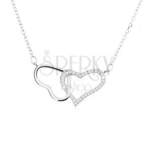 Strieborný náhrdelník 925, dve kontúry - lesklého a zirkónového srdca