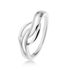 Strieborný prsteň 925, široký stred - hladké obrysy vĺn, vysoký lesk