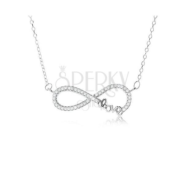 a4c5c126a Nastaviteľný náhrdelník - striebro 925, prívesok znak nekonečna s  kamienkami, ...