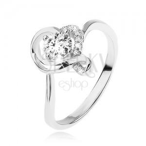 Zásnubný prsteň zo striebra 925, okrúhly číry zirkón v obryse zvlneného srdca
