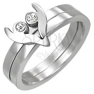 Oceľový prsteň z dvoch častí - srdiečko so zirkónmi