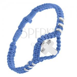 Modrý pletený náramok, lesklý oceľový kríž a kolieska, nastaviteľný