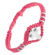 Šperky eshop - Náramok z ružovej tkaniny, ozdobné kolieska a kríž z ocele 304L SP50.14