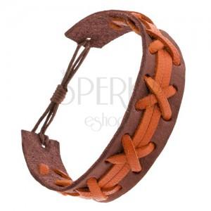 Hnedý náramok z kože, oranžový výplet a pásiky, nastaviteľná dĺžka