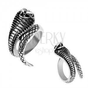 Oceľový prsteň striebornej farby, vypuklá patinovaná kobra