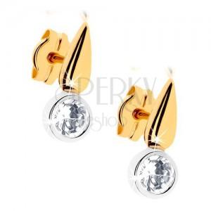 Dvojfarebné zlaté náušnice 375 - ligotavá kvapka, číry zirkón v objímke