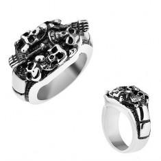 Patinovaný prsteň z ocele 316L, strieborná farba, vypuklé lebky a kosti