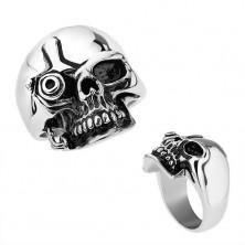 Oceľový prsteň, strieborná farba, lesklá patinovaná lebka v štýle Terminátora