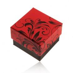 Šperky eshop - Červeno-čierna darčeková krabička na prsteň, motív kvetinových ornamentov Y28.2