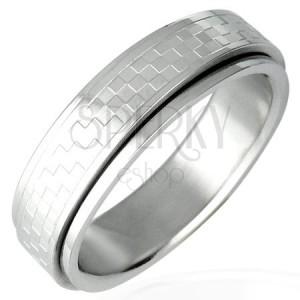 Oceľový prsteň s otáčavým stredom - šachovnica