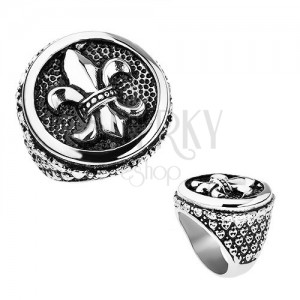 Prsteň z ocele, strieborná farba, patina, Fleur de Lis v kruhu, srdiečka