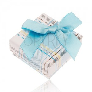 Krabička na prsteň s károvaným vzorom, svetlomodrá mašlička