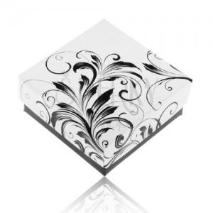 Čierno-biela darčeková krabička na prsteň, kvetinové ornamenty