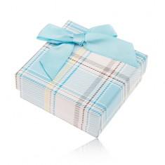 Šperky eshop - Darčeková krabička na prsteň a náušnice, károvaný motív, svetlomodrá mašlička Y28.11
