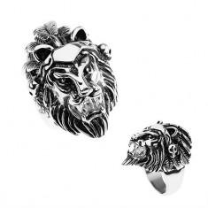 Prsteň z ocele 316L, strieborná farba, hlava leva, čelenka s pierkami, lebky