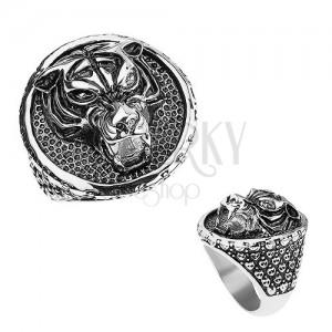 Mohutný prsteň z ocele 316L, tiger s vycerenými zubami, patinovaný