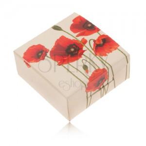 Krémová papierová krabička na prsteň a náušnice, červený kvet maku