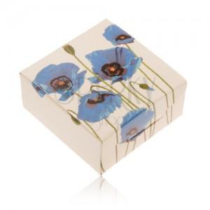 Papierová krabička na prsteň alebo náušnice, krémová farba, modrý mak