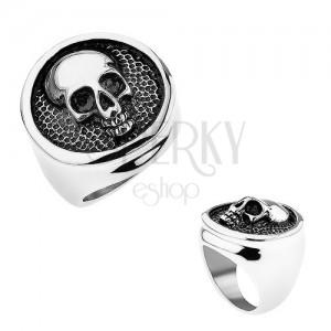 Prsteň z ocele 316L, kruh s vyvýšeným lemom, lebka, čierna patina