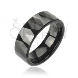 Tungstenový - Wolfrámový prsteň - čierne trojuholníky