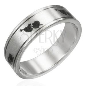 Prsteň z ocele matný - srdiečka a šíp