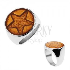 Mohutný prsteň z chirurgickej ocele, päťcípa hviezda trblietavej zlatej farby