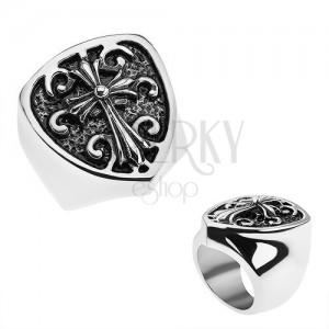 Patinovaný prsteň z ocele 316L, erb s ľaliovým krížom, ornamenty