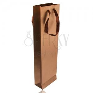 Podlhovastá taška na darček bronzovej farby, trblietky, hnedé stužky