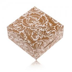 Hnedobiela papierová krabička na prsteň a náušnice, dekoračná potlač