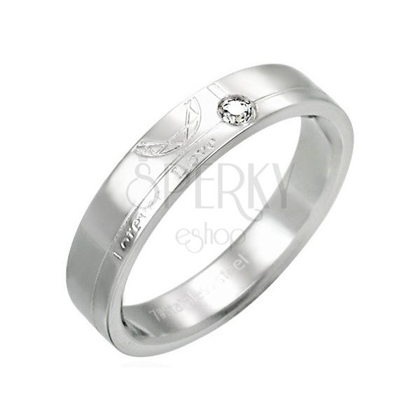 Oceľový prsteň so zirkónom - Forever Love