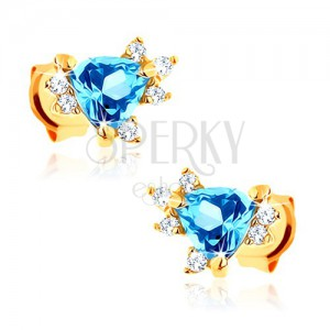 Náušnice zo žltého 9K zlata - modrý trojuholníkový topás, zirkóniky čírej farby