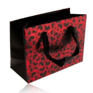 Darčeková taška, čierne matné srdiečka na lesklom červenom podklade