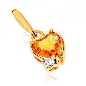Ligotavý prívesok v žltom 9K zlate - srdiečkový citrín žltej farby, číry zirkónik