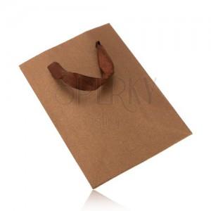 Malá darčeková taštička v trblietavej bronzovej farbe, hnedé stužky