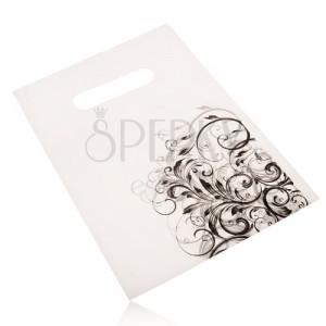 Darčekové igelitové vrecúško, čierna potlač popínavých listov na bielom podklade