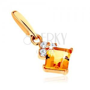 Zlatý prívesok 375 - štvorcový žltý citrín, číre ligotavé zirkóniky