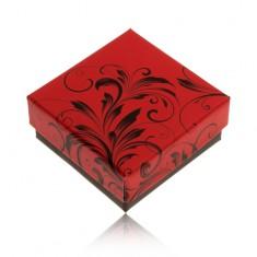 Šperky eshop - Nižšia červeno-čierna krabička na prsteň alebo náušnice, ornamenty Y27.4