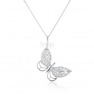 Strieborný náhrdelník 925, kontúra motýľa, zirkónové zdobenie, nastaviteľný