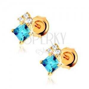 Náušnice zo žltého 9K zlata, štvorcový modrý topás, číre zirkóniky