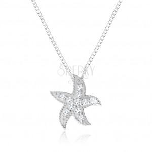 Strieborný náhrdelník 925, morská hviezdica zdobená malými okrúhlymi zirkónmi