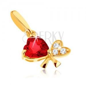 Zlatý prívesok 375 - mašľa z dvoch srdiečok, červený granát, číre zirkóniky