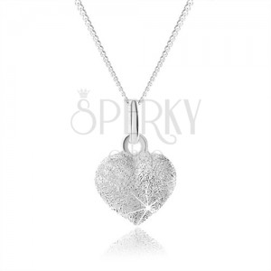 Trblietavý strieborný náhrdelník 925, plné rovnomerné srdiečko, nastaviteľný