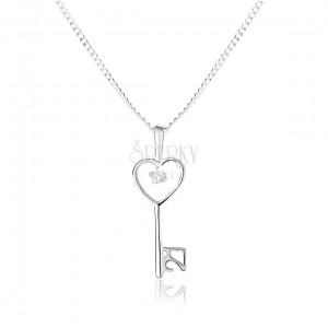 Nastaviteľný náhrdelník - striebro 925, hladký lesklý kľúč a jemná retiazka