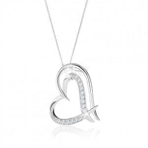 Strieborný náhrdelník 925, zdvojená kontúra nepravidelného srdca, číre zirkóniky