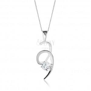 Strieborný 925 náhrdelník, ligotavá špirála zdobená čírym okrúhlym zirkónom