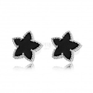 Puzetové náušnice, čierne hviezdy s vrúbkovaným lemom, striebro 925