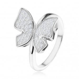 Strieborný prsteň 925, trblietavý motýľ vykladaný zirkónikmi čírej farby