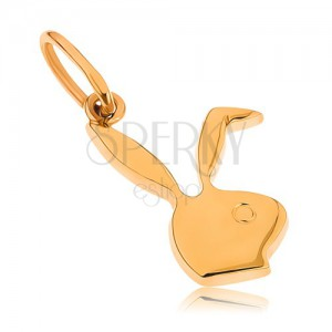 Plochý prívesok zo žltého 9K zlata - hlava zajačika Playboy