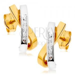 Ródiované náušnice z 9K zlata - dve zahnuté prekrížené línie, číre zirkóniky