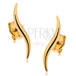 Puzetové náušnice v 9K žltom zlate - úzke ligotavé vlnky